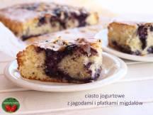 ciasto jogurtowe z jagodami i płatkami migdałów https://pomyslymamy.wordpress.com/2018/05/06/ciasto-jogurtowe-z-jagodami-i-platkami-migdalow/